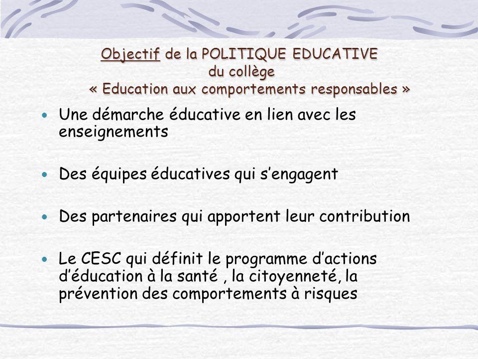 Une démarche éducative en lien avec les enseignements