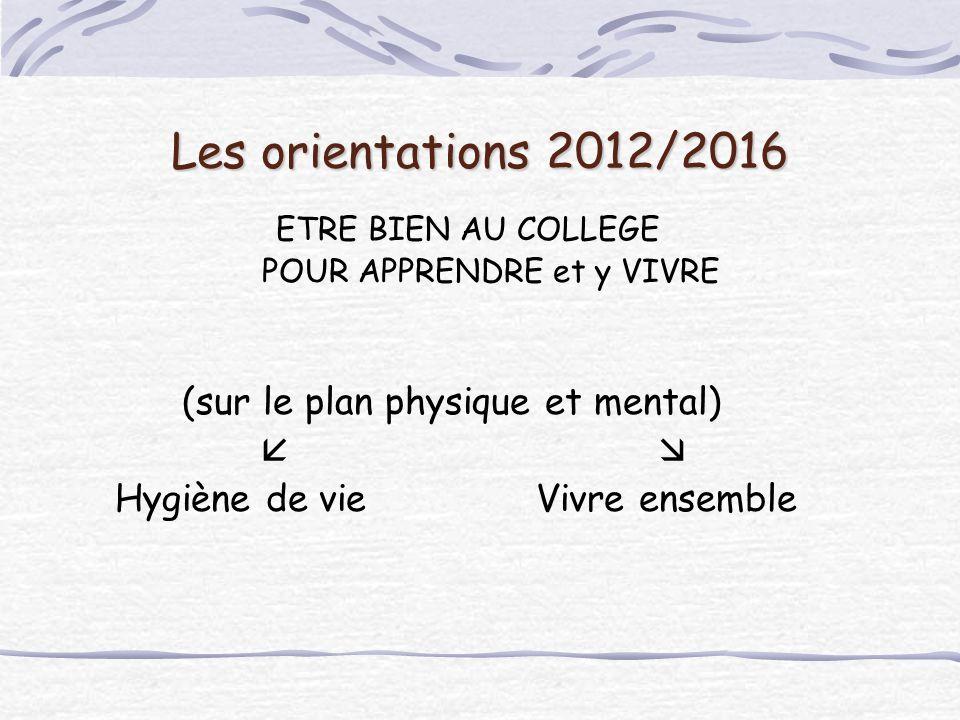 Les orientations 2012/2016 (sur le plan physique et mental)  