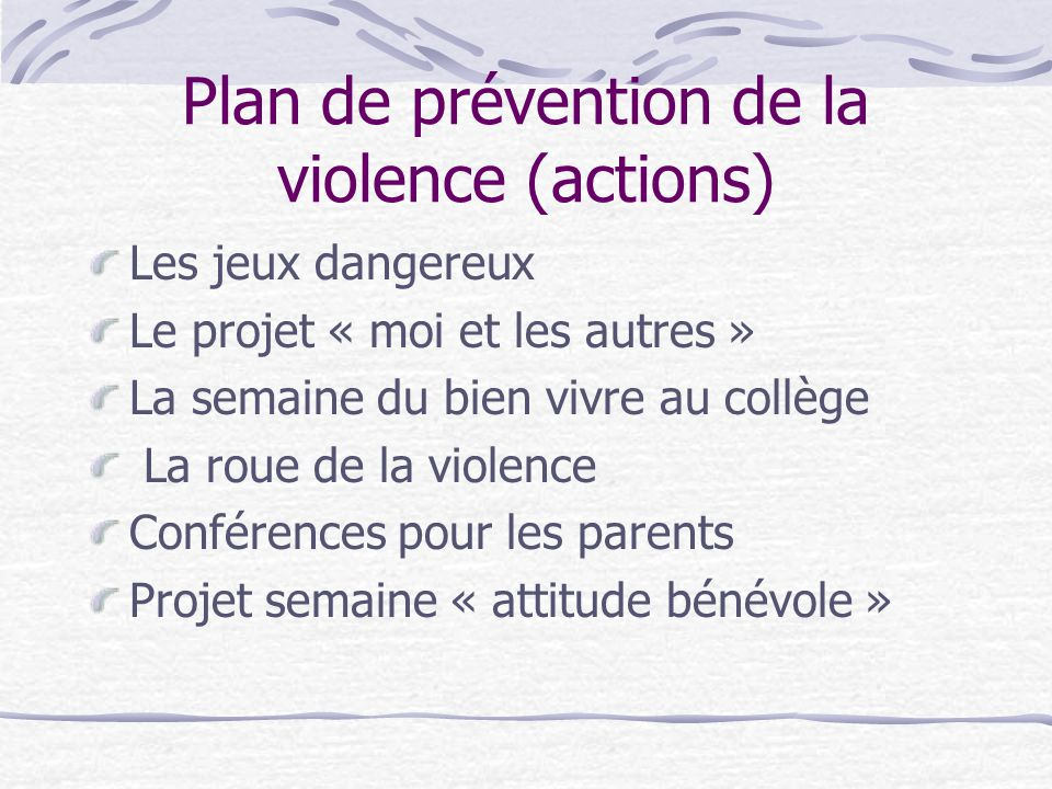 Plan de prévention de la violence (actions)