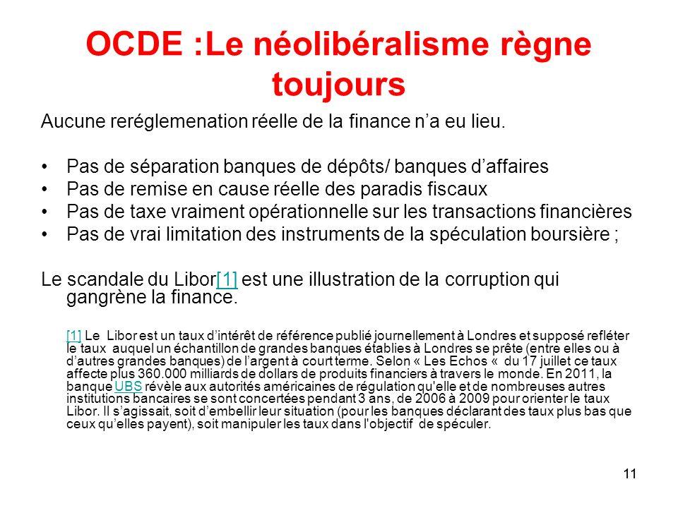 OCDE :Le néolibéralisme règne toujours