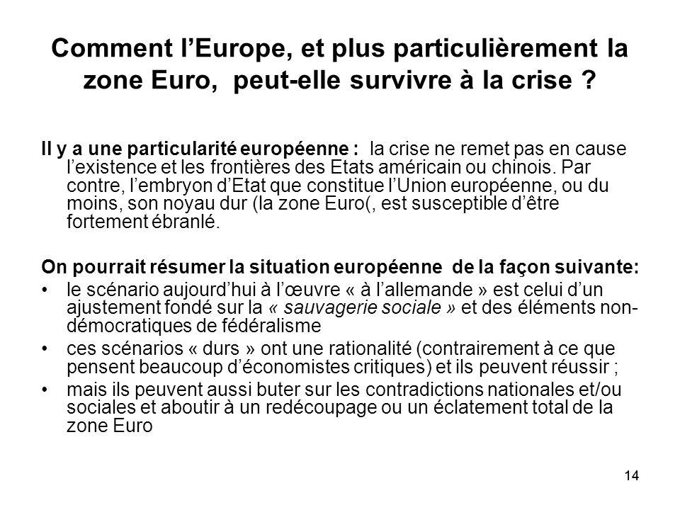 Comment l'Europe, et plus particulièrement la zone Euro, peut-elle survivre à la crise