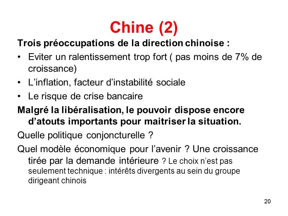 Chine (2) Trois préoccupations de la direction chinoise :