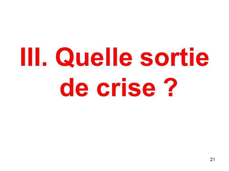 III. Quelle sortie de crise