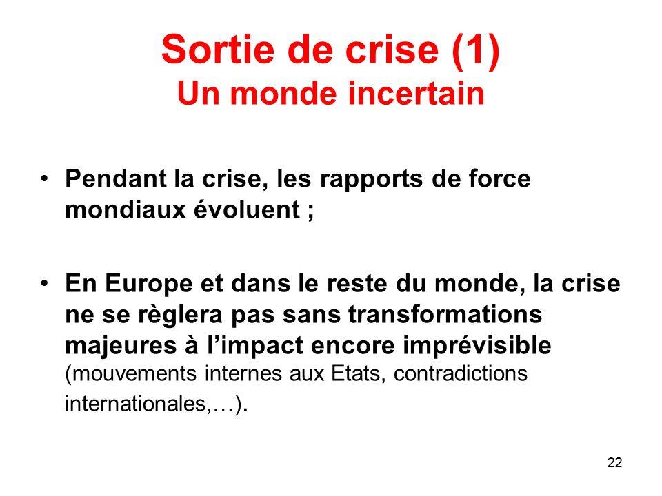 Sortie de crise (1) Un monde incertain