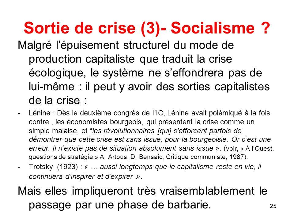 Sortie de crise (3)- Socialisme