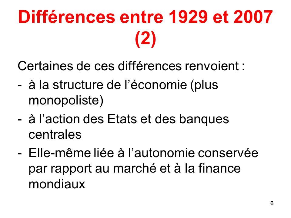 Différences entre 1929 et 2007 (2)