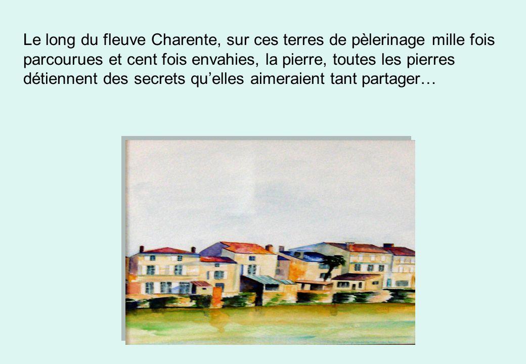 Le long du fleuve Charente, sur ces terres de pèlerinage mille fois parcourues et cent fois envahies, la pierre, toutes les pierres détiennent des secrets qu'elles aimeraient tant partager…