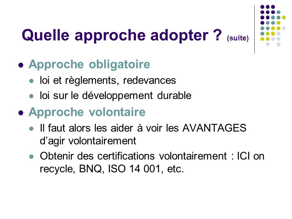 Quelle approche adopter (suite)