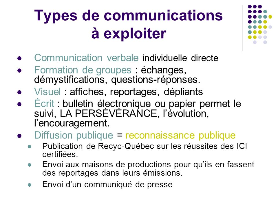 Types de communications à exploiter