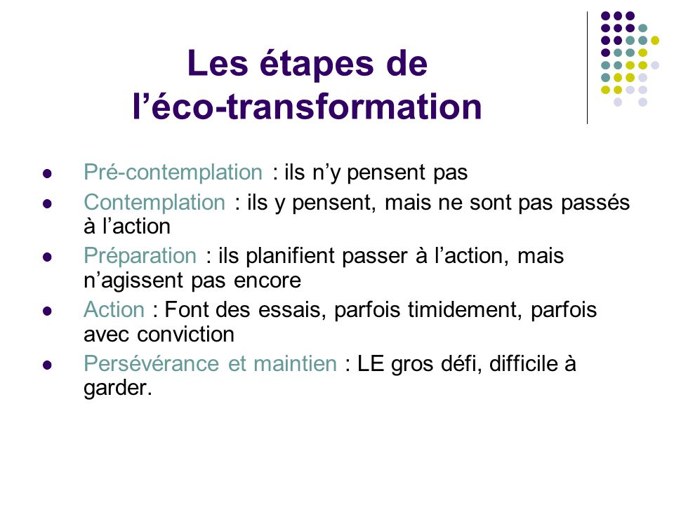 Les étapes de l'éco-transformation