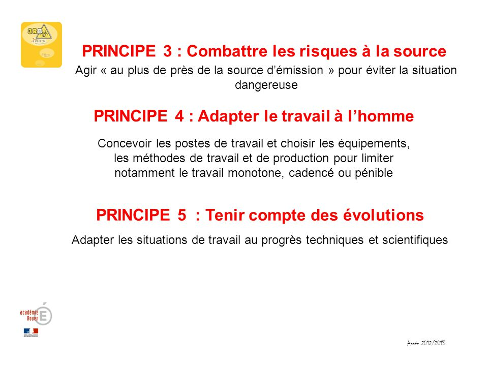 PRINCIPE 3 : Combattre les risques à la source