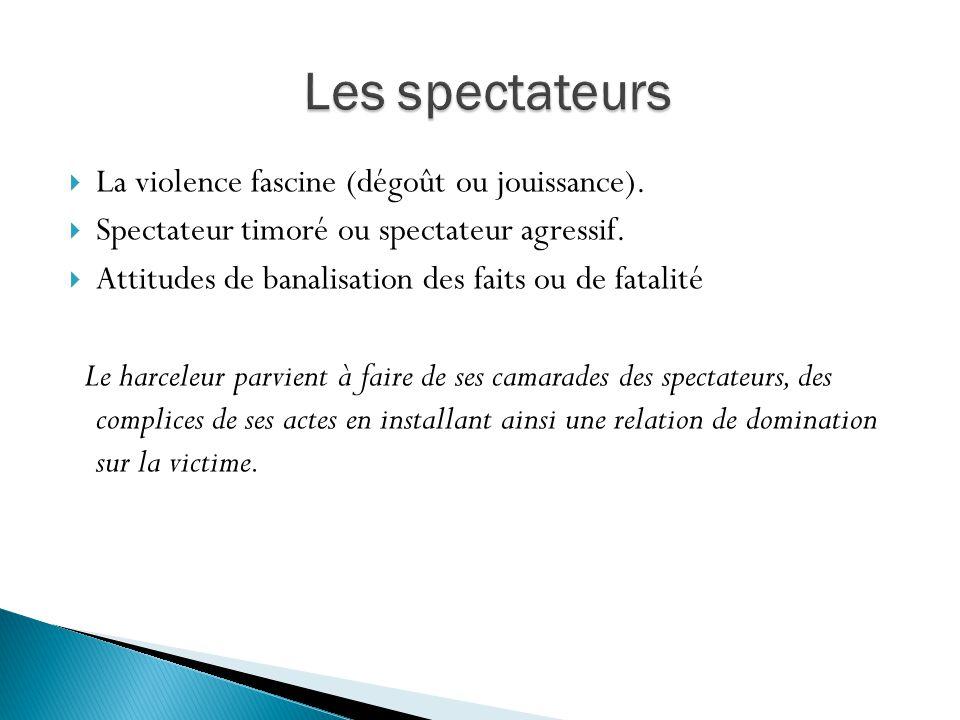 Les spectateurs La violence fascine (dégoût ou jouissance).
