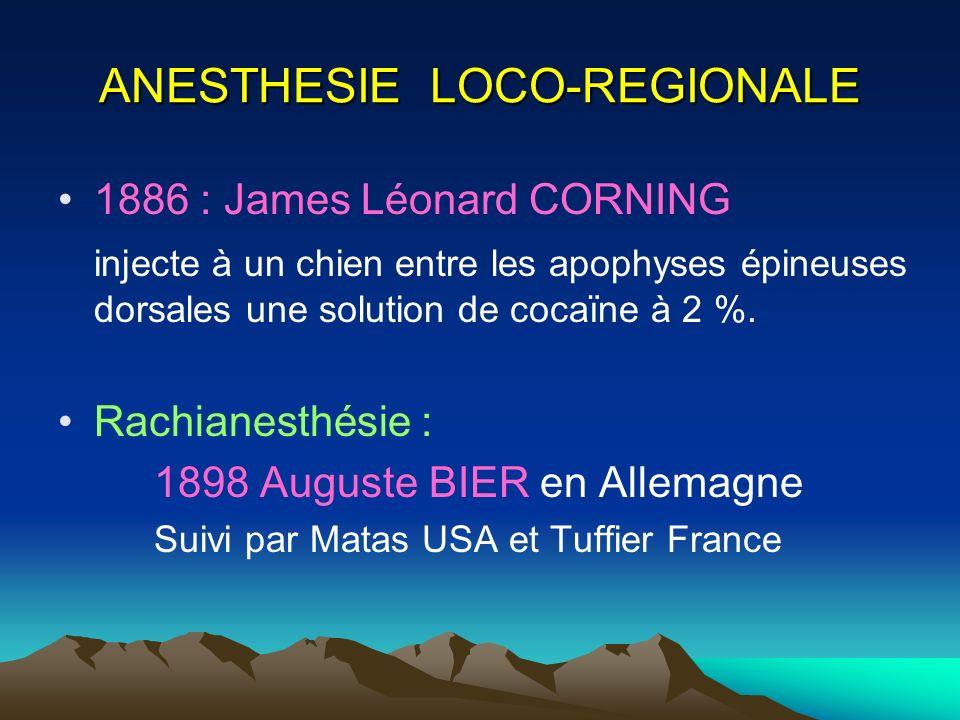 ANESTHESIE LOCO-REGIONALE