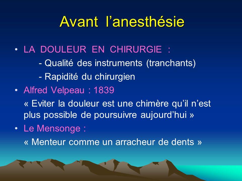 Avant l'anesthésie LA DOULEUR EN CHIRURGIE :