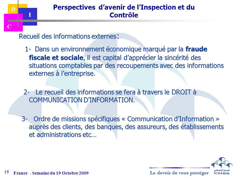 Perspectives d'avenir de l'Inspection et du Contrôle