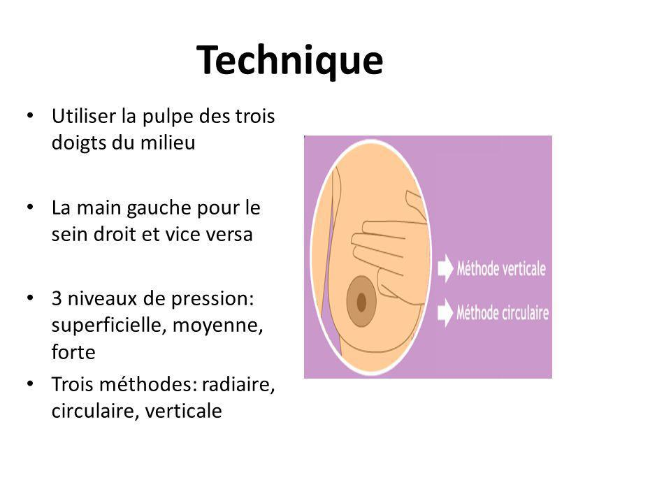 Technique Utiliser la pulpe des trois doigts du milieu