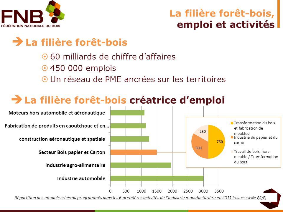 La filière forêt-bois, emploi et activités