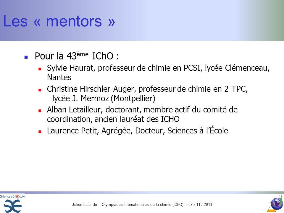 Les « mentors » Pour la 43ème IChO :