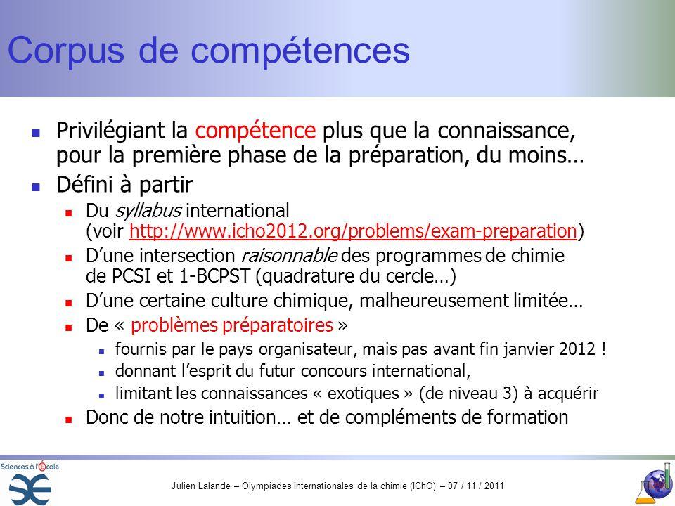 Corpus de compétences Privilégiant la compétence plus que la connaissance, pour la première phase de la préparation, du moins…