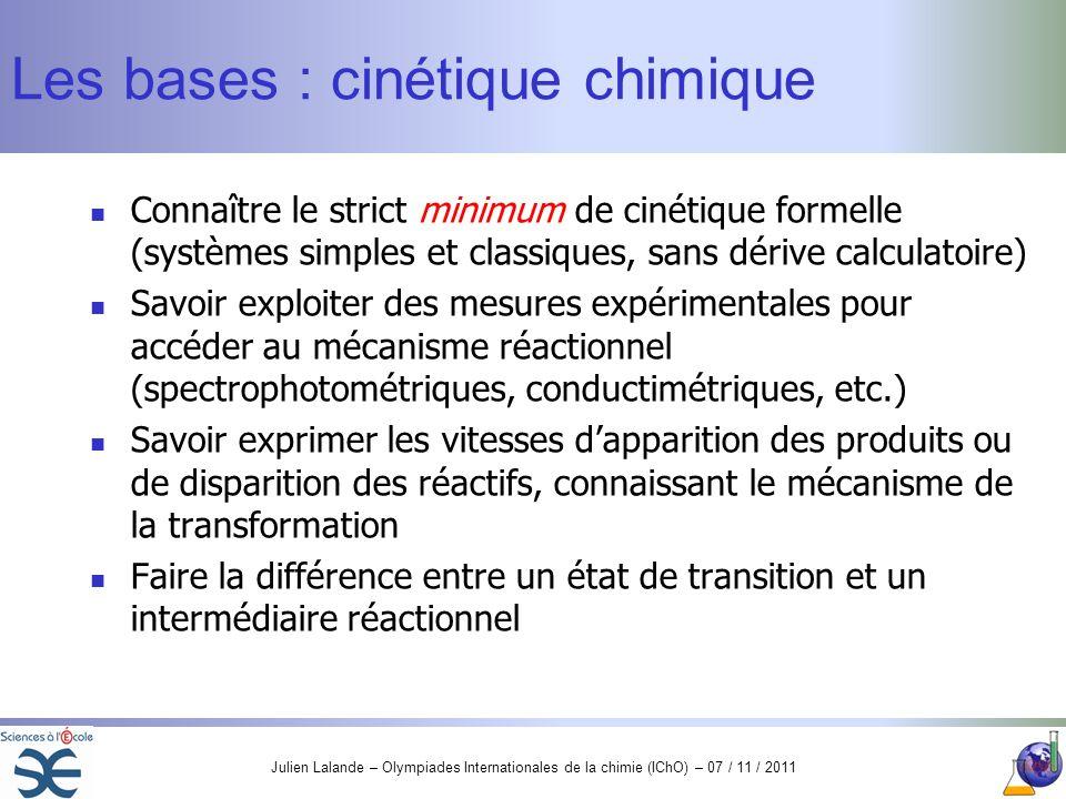 Les bases : cinétique chimique