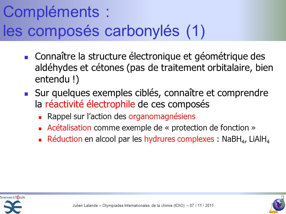 Compléments : les composés carbonylés (1)