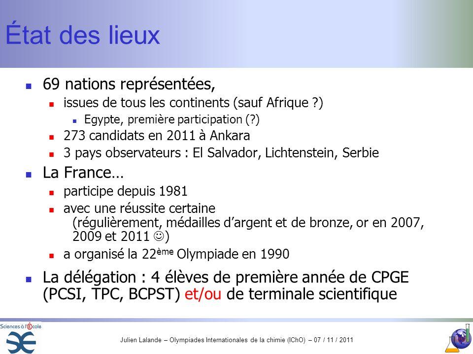 État des lieux 69 nations représentées, La France…
