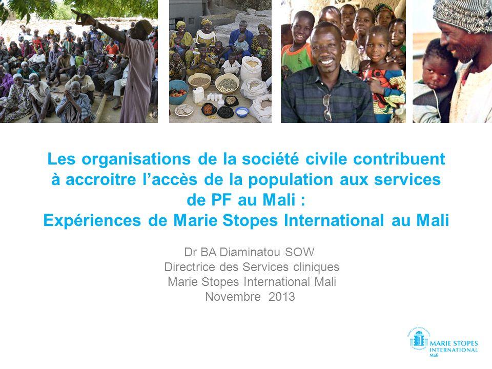 Les organisations de la société civile contribuent à accroitre l'accès de la population aux services de PF au Mali : Expériences de Marie Stopes International au Mali