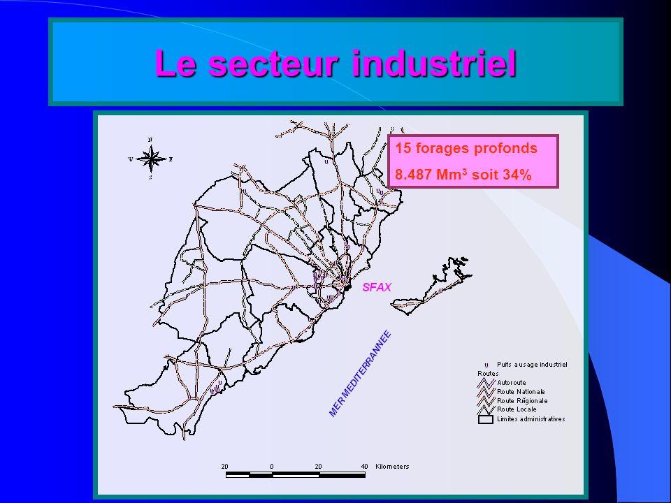 Le secteur industriel 15 forages profonds 8.487 Mm3 soit 34%