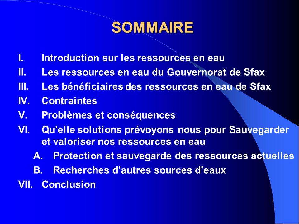 SOMMAIRE Introduction sur les ressources en eau