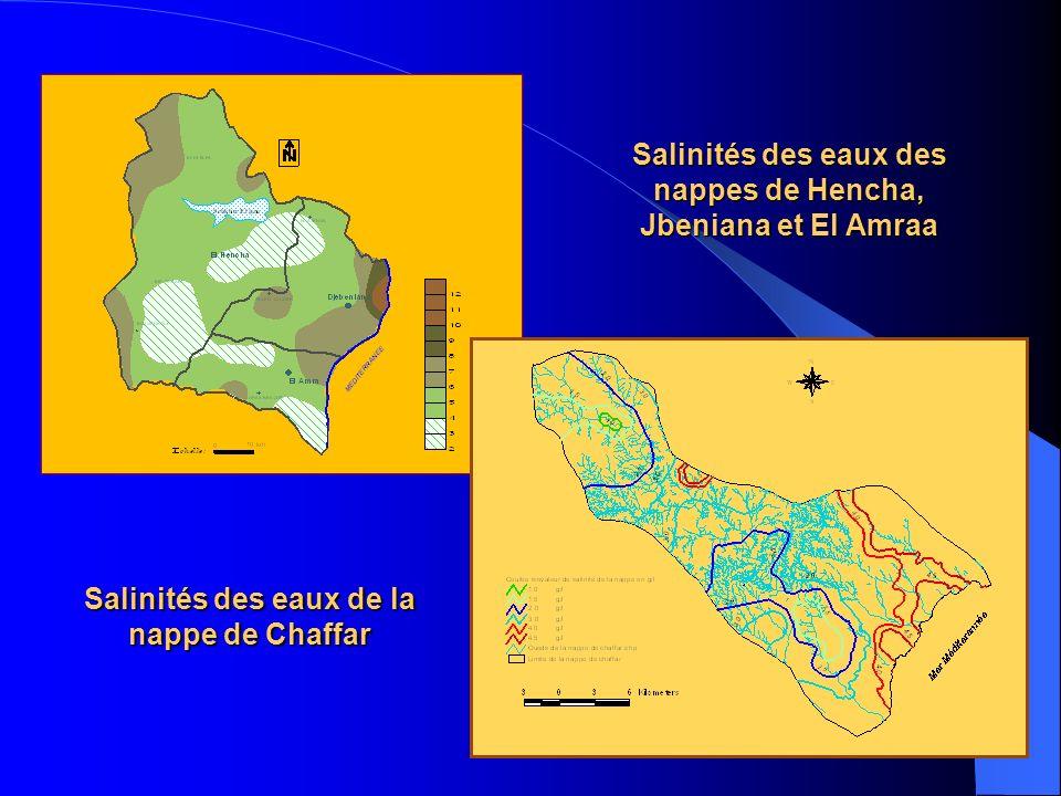 Salinités des eaux des nappes de Hencha, Jbeniana et El Amraa
