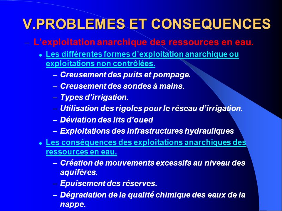 PROBLEMES ET CONSEQUENCES