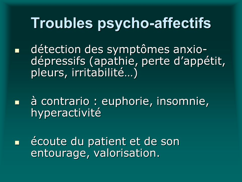 Troubles psycho-affectifs