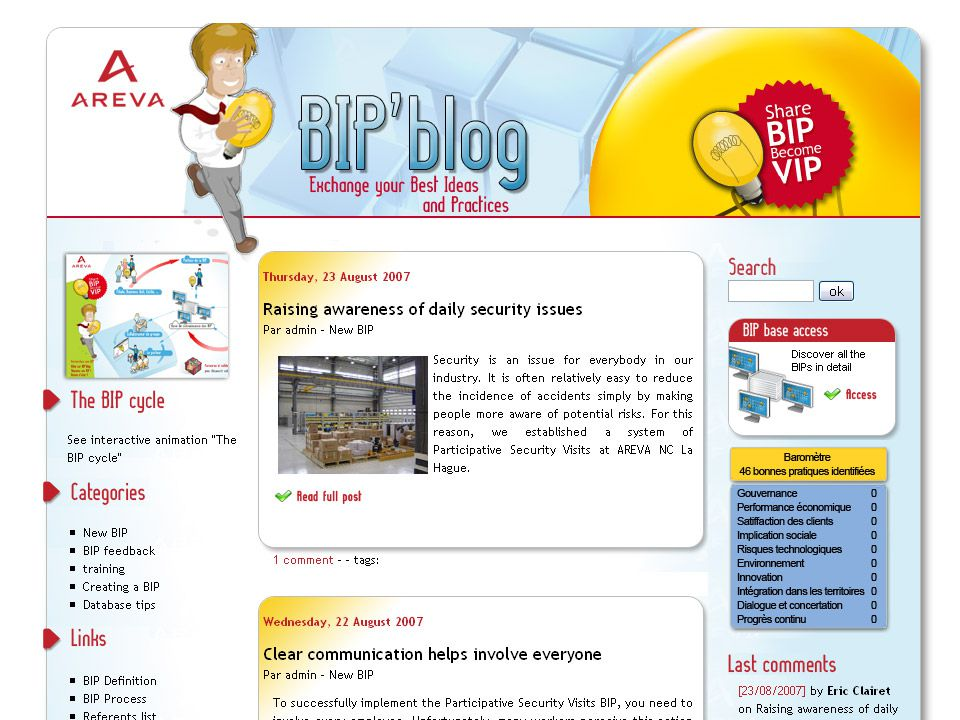 BHN Description du blog Les différentes rubriques