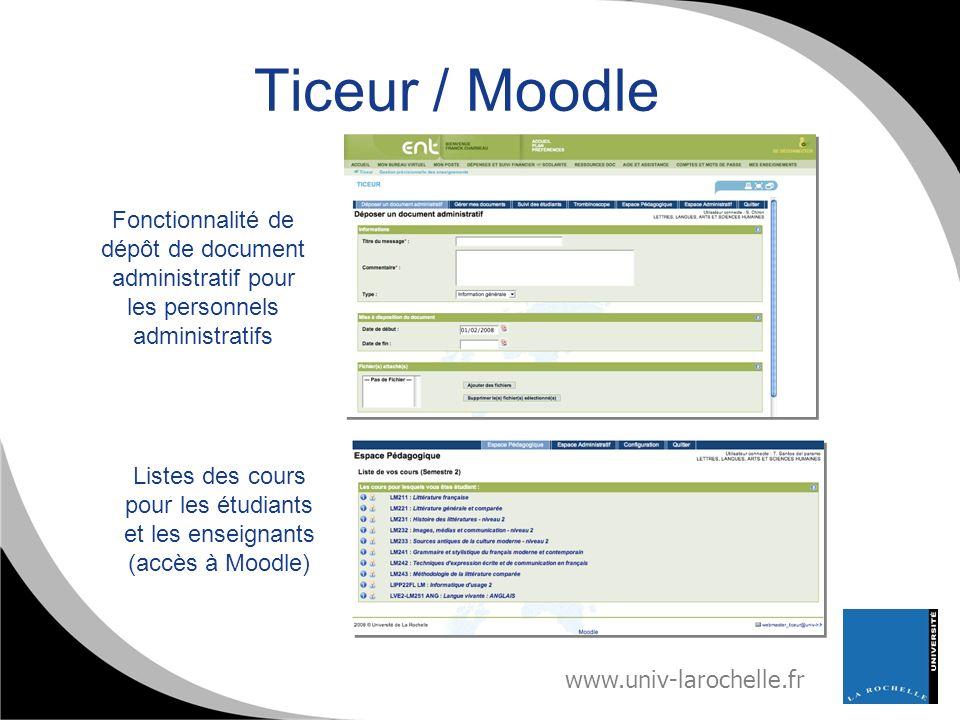 Ticeur / Moodle Fonctionnalité de dépôt de document administratif pour les personnels administratifs.