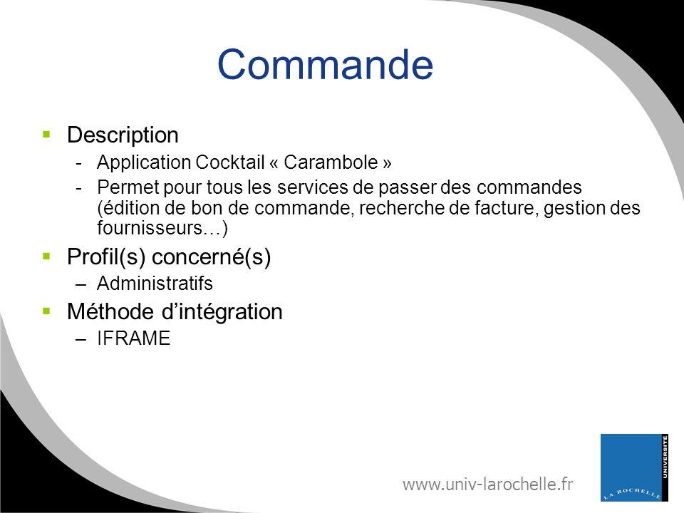 Commande Description Profil(s) concerné(s) Méthode d'intégration