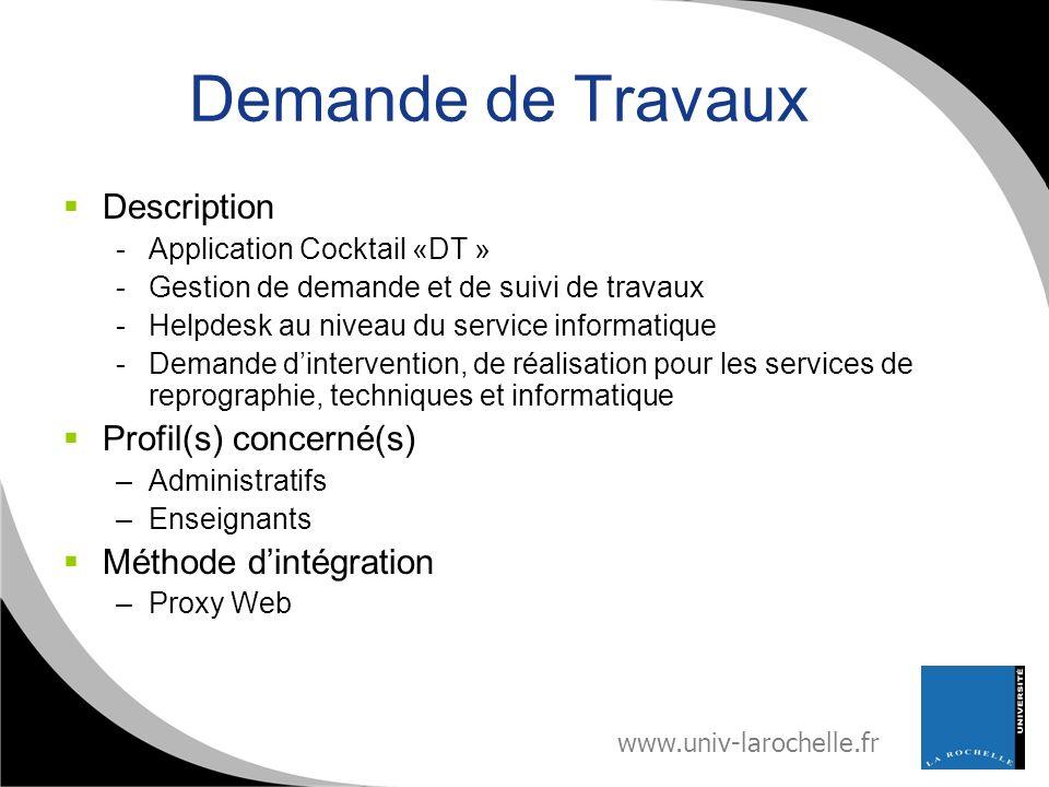 Demande de Travaux Description Profil(s) concerné(s)