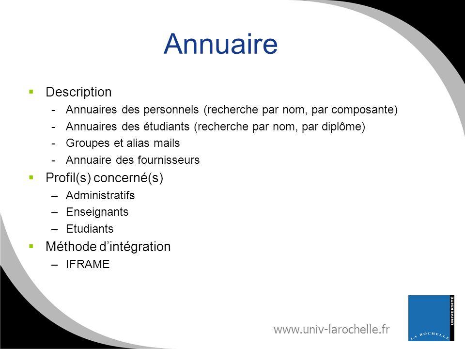 Annuaire Description Profil(s) concerné(s) Méthode d'intégration
