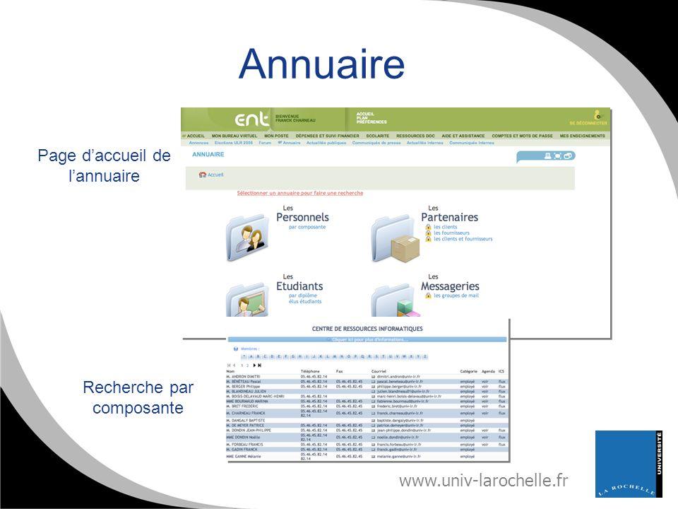 Annuaire Page d'accueil de l'annuaire Recherche par composante