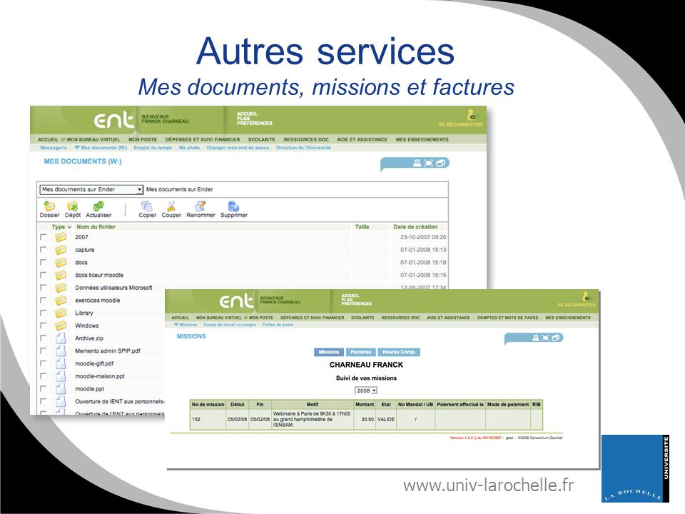 Autres services Mes documents, missions et factures