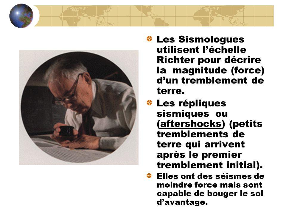 Les Sismologues utilisent l'échelle Richter pour décrire la magnitude (force) d'un tremblement de terre.