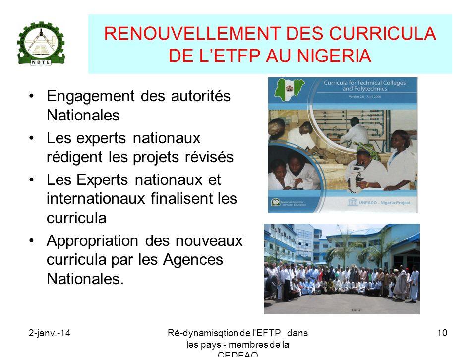 RENOUVELLEMENT DES CURRICULA DE L'ETFP AU NIGERIA