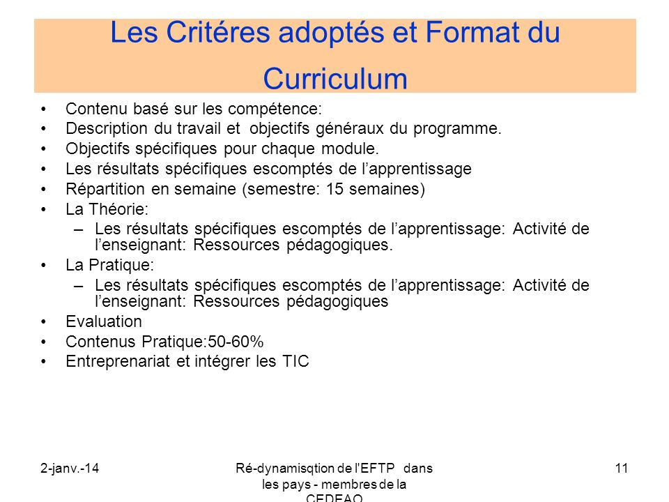 Les Critéres adoptés et Format du Curriculum