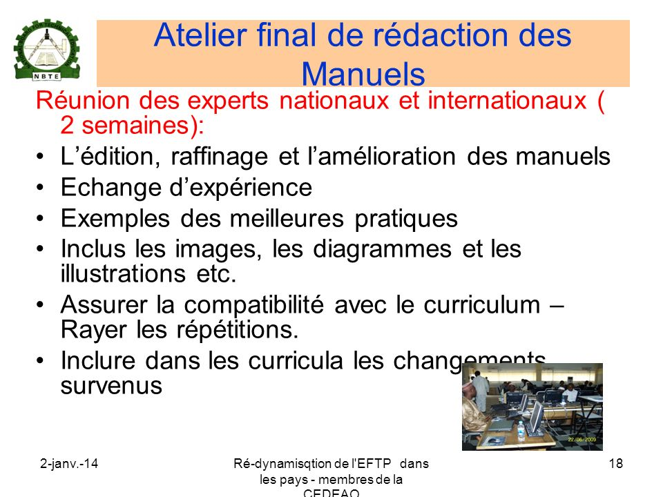 Atelier final de rédaction des Manuels