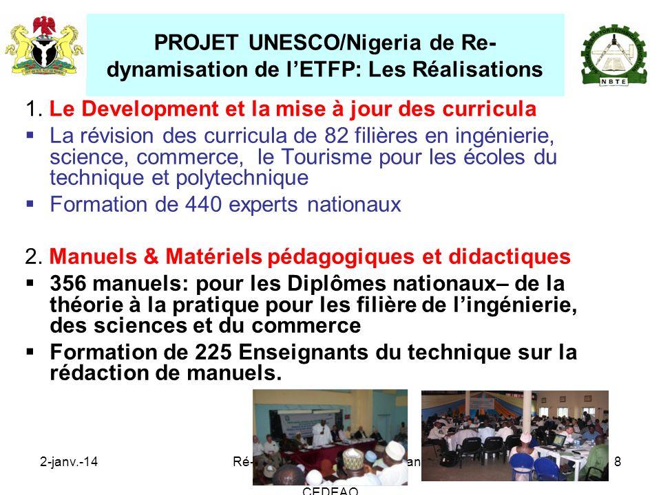 PROJET UNESCO/Nigeria de Re-dynamisation de l'ETFP: Les Réalisations