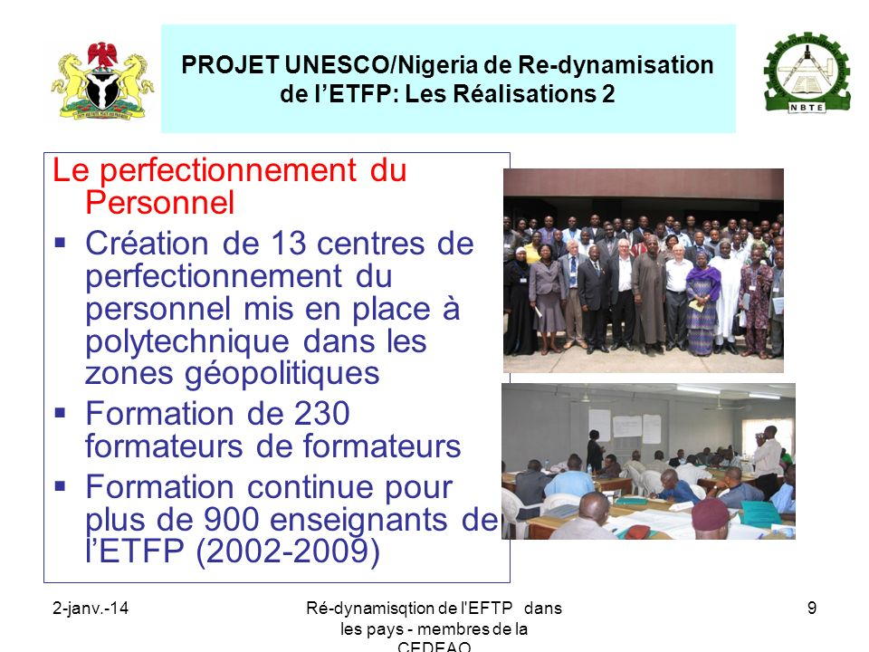 PROJET UNESCO/Nigeria de Re-dynamisation de l'ETFP: Les Réalisations 2