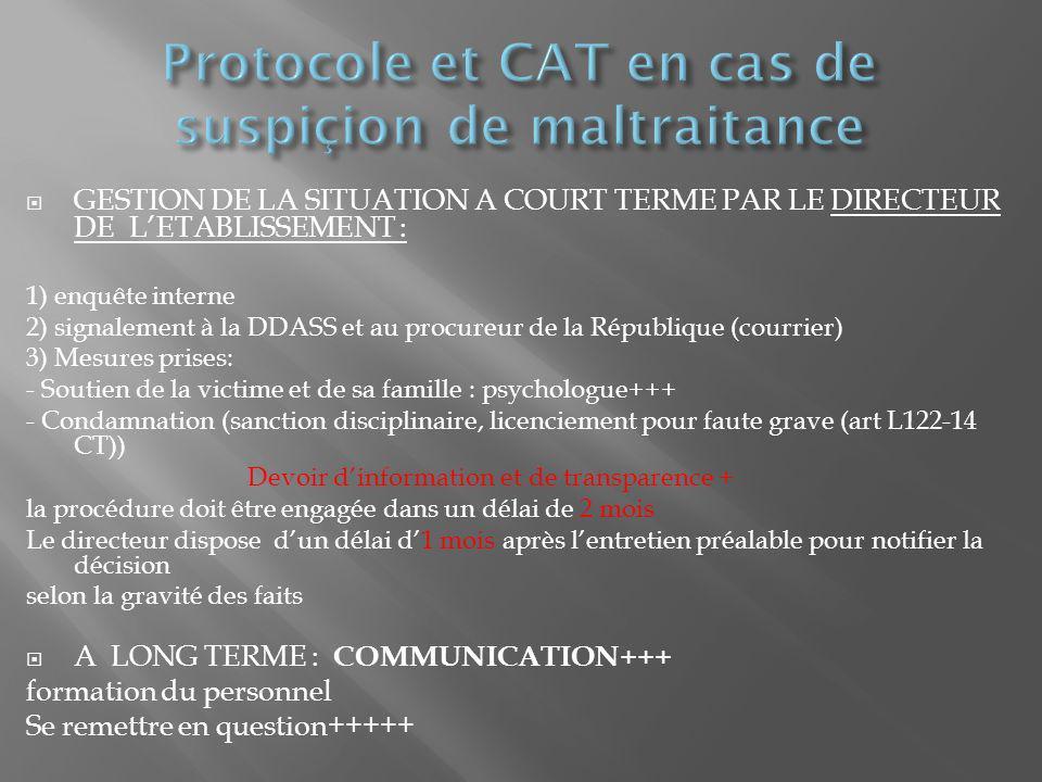 Protocole et CAT en cas de suspiçion de maltraitance