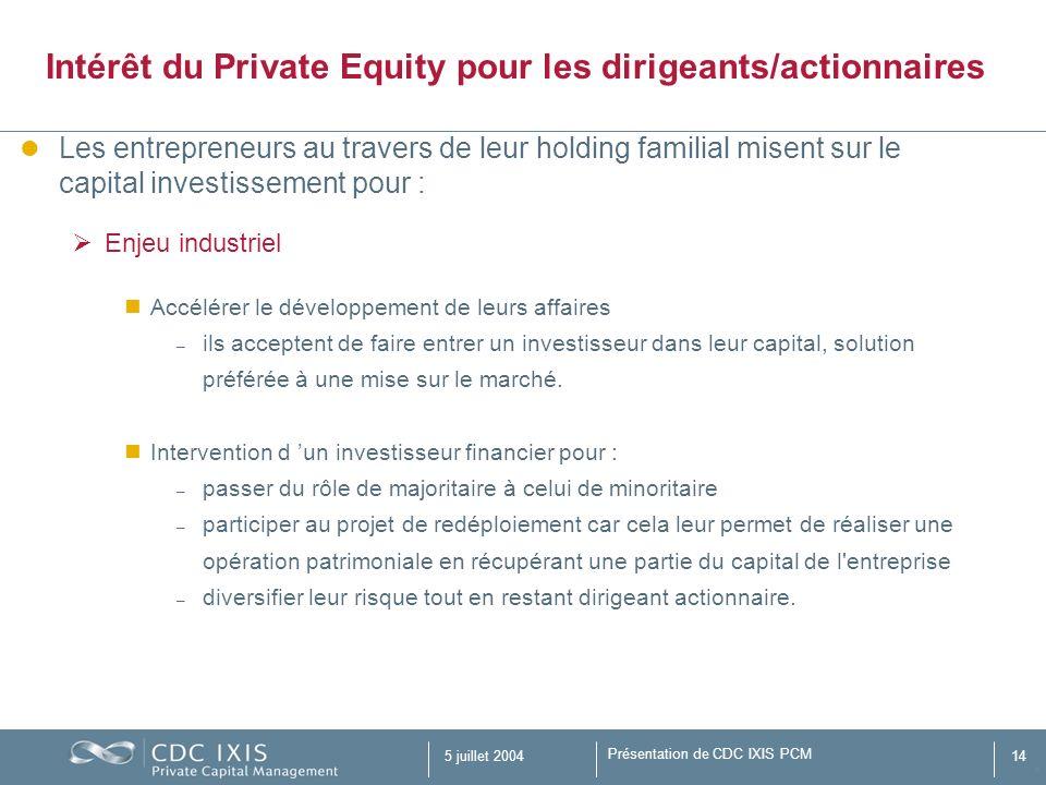 Intérêt du Private Equity pour les dirigeants/actionnaires
