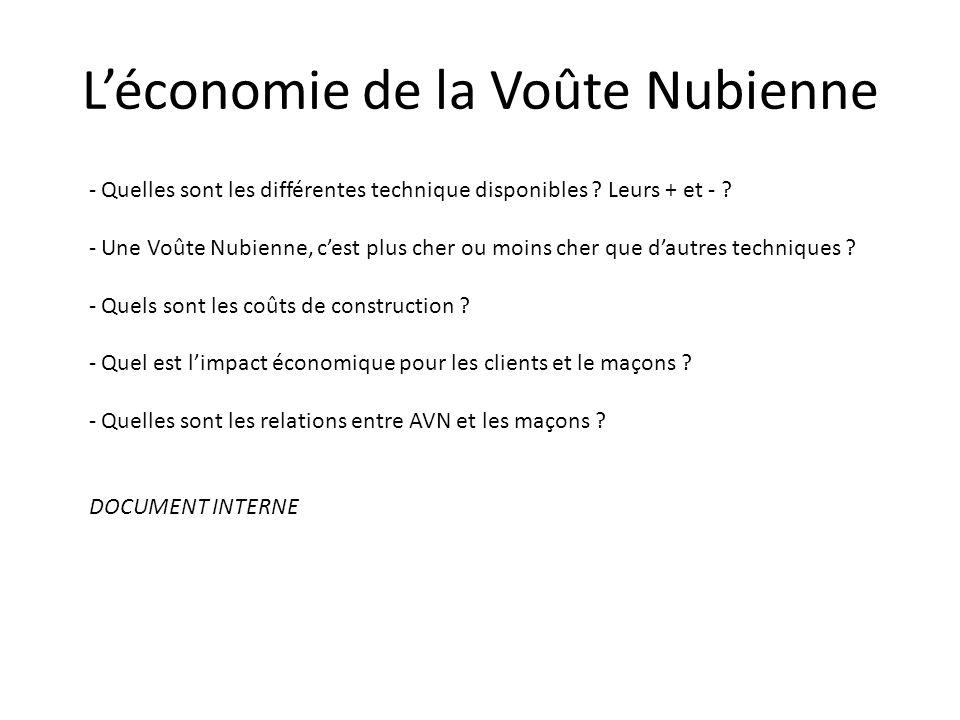 L'économie de la Voûte Nubienne