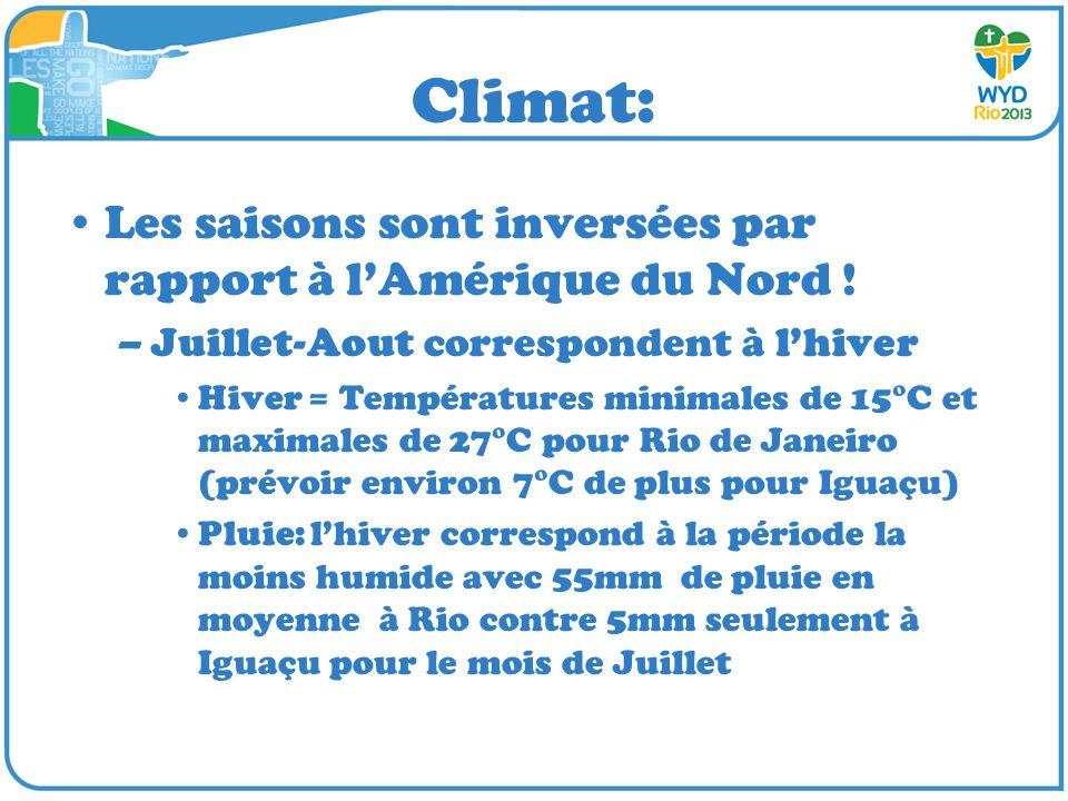 Climat: Les saisons sont inversées par rapport à l'Amérique du Nord !