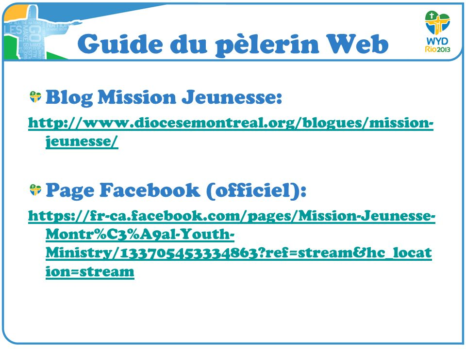 Guide du pèlerin Web Blog Mission Jeunesse: Page Facebook (officiel):